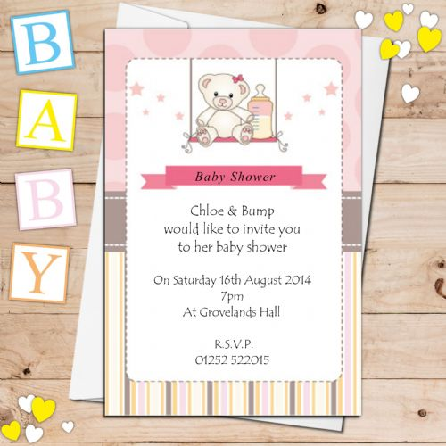 10 Personalised Pink Girl Baby Shower Invitations N10